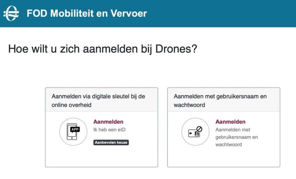 Verschillende manieren van aanmelden in het DGLV Drones-portaal